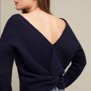 Anthropologie Navy Twist Back Sweater